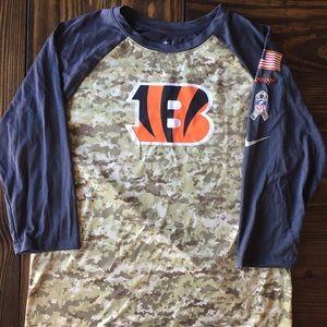 Nike Cincinatti Bengals Camo 3/4 Sleeve Shirt, L
